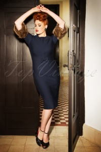Vintage Diva the Femme Fatale Pencil Dress in Navy 26362 20180612 0016W