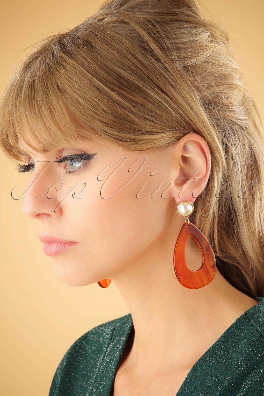 60s -70s Jewelry – Necklaces, Earrings, Rings, Bracelets 60s Glenda Pearl Earrings in Rust £11.35 AT vintagedancer.com