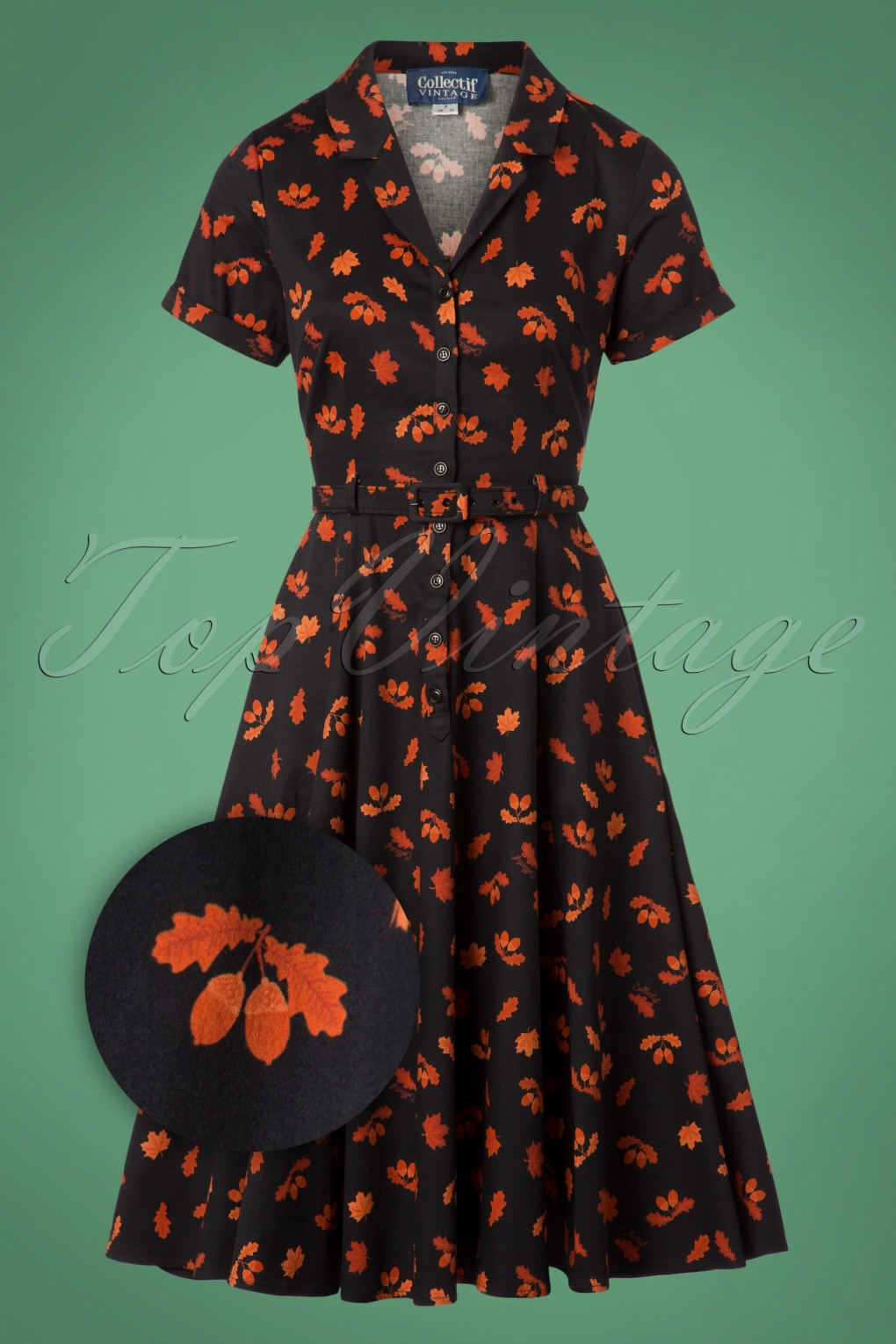 50 Vintage Inspired Clothing Stores 50s Caterina Acorn Swing Dress in Black £73.57 AT vintagedancer.com
