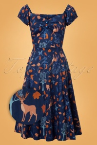 50s Dolores Forest Friends Doll Dress in Blue