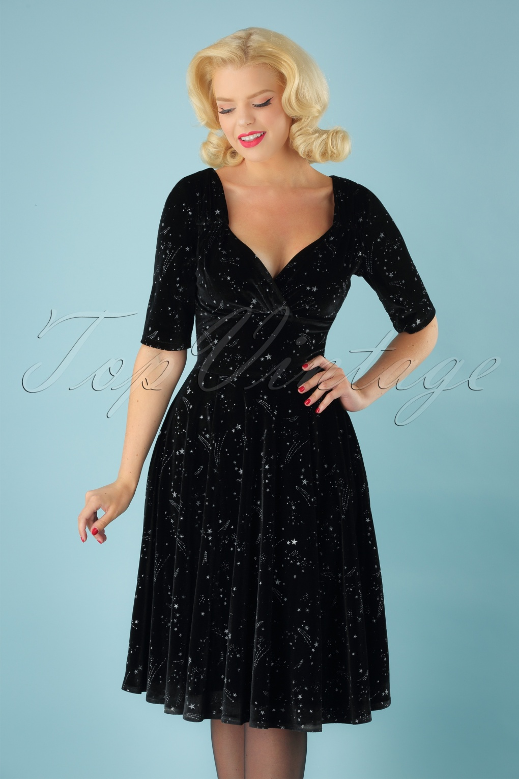 What Did Women Wear in the 1950s? 1950s Fashion Guide 50s Trixie Make A Wish Doll Dress in Black £62.29 AT vintagedancer.com