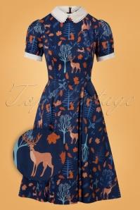 50s Peta Forest Friends Swing Dress in Blue