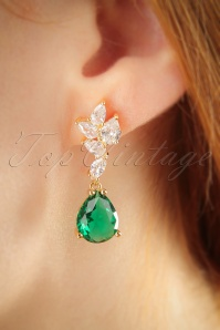 50s Emerald Drop Earrings in Gold