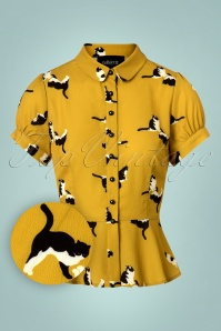 Collectif Clothing Mary Grace Kitty Cat Print Blouse 112 89 27983 20180626 0002W1