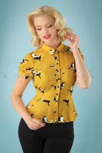 Collectif Clothing Mary Grace Kitty Cat Print Blouse 112 89 27983 20180626 1W