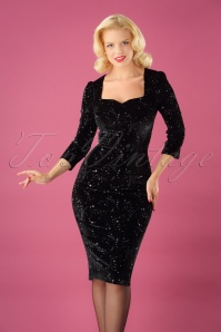 50s Vanessa Make A Wish Pencil Dress in Black
