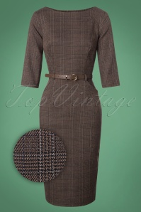 50s Adeline Librarian Check Pencil Dress in Brown