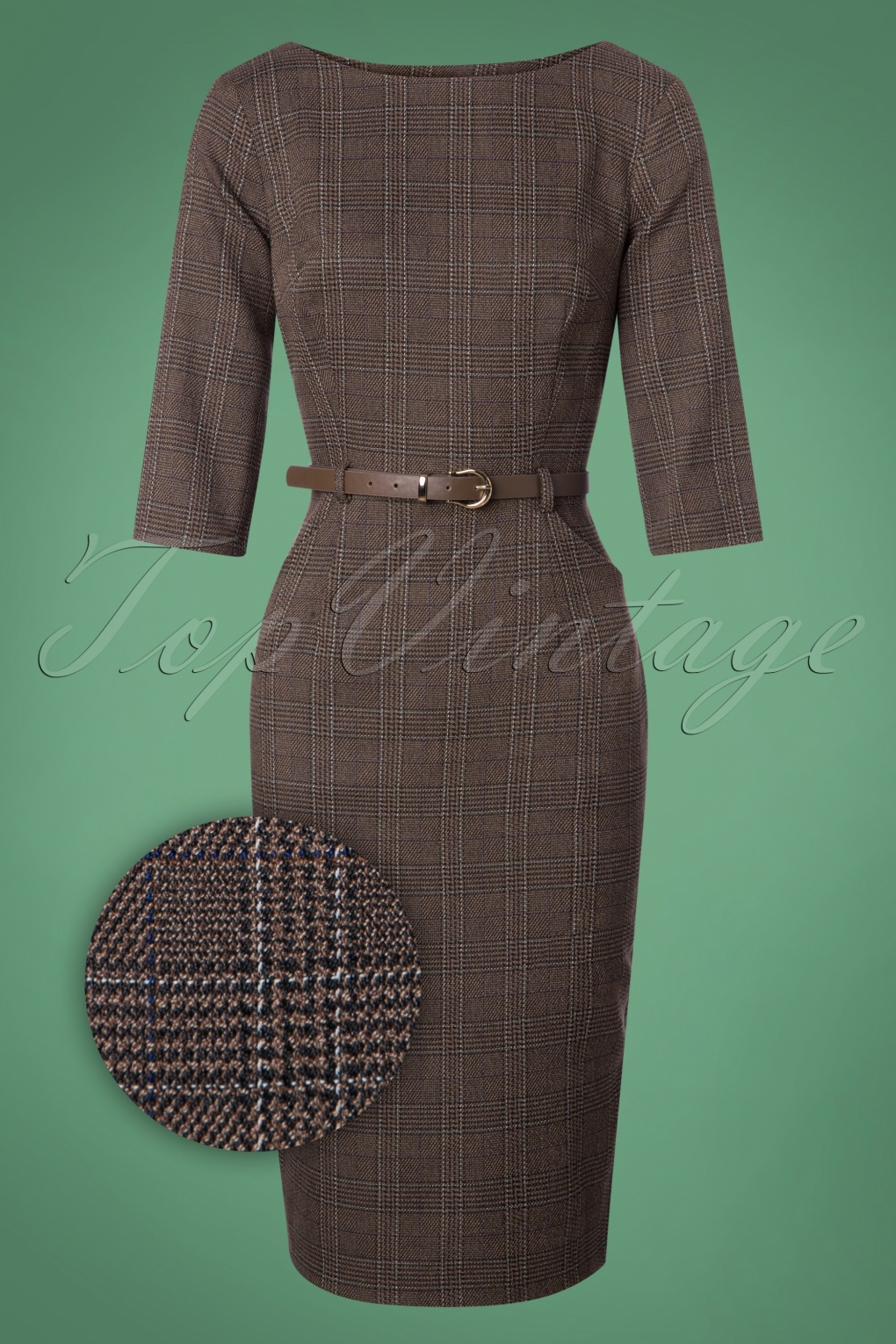 Wiggle Dresses | Pencil Dresses 40s, 50s, 60s 50s Adeline Librarian Check Pencil Dress in Brown £58.77 AT vintagedancer.com