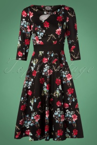 Hearts and Roses Black and Red Floral Swing Dress 102 14 26945 20181001 0006W