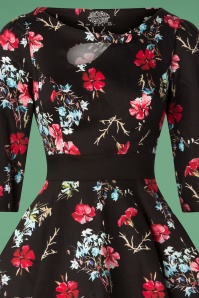 Hearts and Roses Black and Red Floral Swing Dress 102 14 26945 20181001 0002V