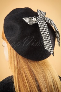 50s Bow Wool Beret in Black