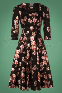 Hearts and Roses Black Floral Swing Dress 102 14 26949 20181001 0008W