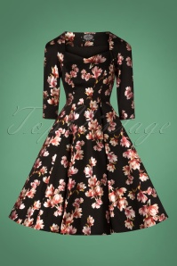 Hearts and Roses Black Floral Swing Dress 102 14 26949 20181001 0003W