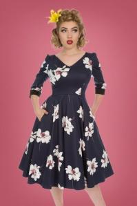 Hearts and Roses Navy White Floral Swing Dress 102 39 26954 20181001 0011