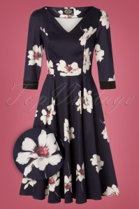 Hearts and Roses Navy White Floral Swing Dress 102 39 26954 20181001 0006Z