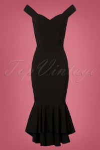 50s Valentina Fishtail Pencil Dress in Black
