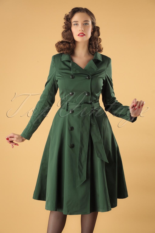 1940s Coats & Jackets Fashion History 40s Korrina Swing Trench Coat in Green £122.54 AT vintagedancer.com
