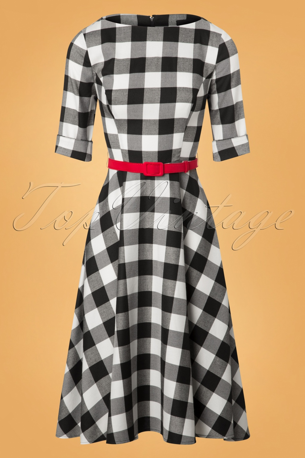 50 Vintage Inspired Clothing Stores 50s Suzanne Gingham Swing Dress in Black and White £68.35 AT vintagedancer.com