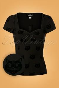 Collectif Clothing Mimi Velvet Cat Top 110 10 24853 20180629 0001W1