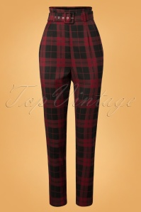 50s Thea Rebel Check Trousers in Black and Red