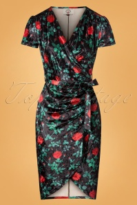 Banned Black and Red Floral Velvet Dress 26261 20180705 0003W