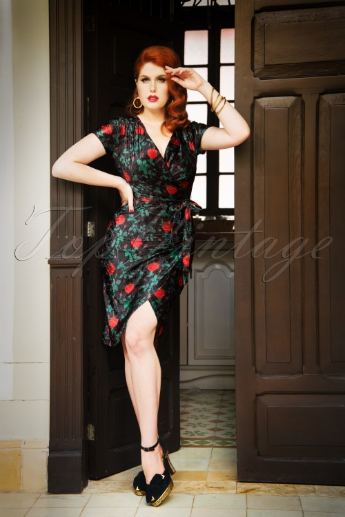 Banned Black and Red Floral Velvet Dress 26261 20180705 0001W