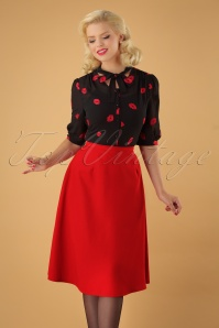 50s Sue Ellen Bias Skirt in Red