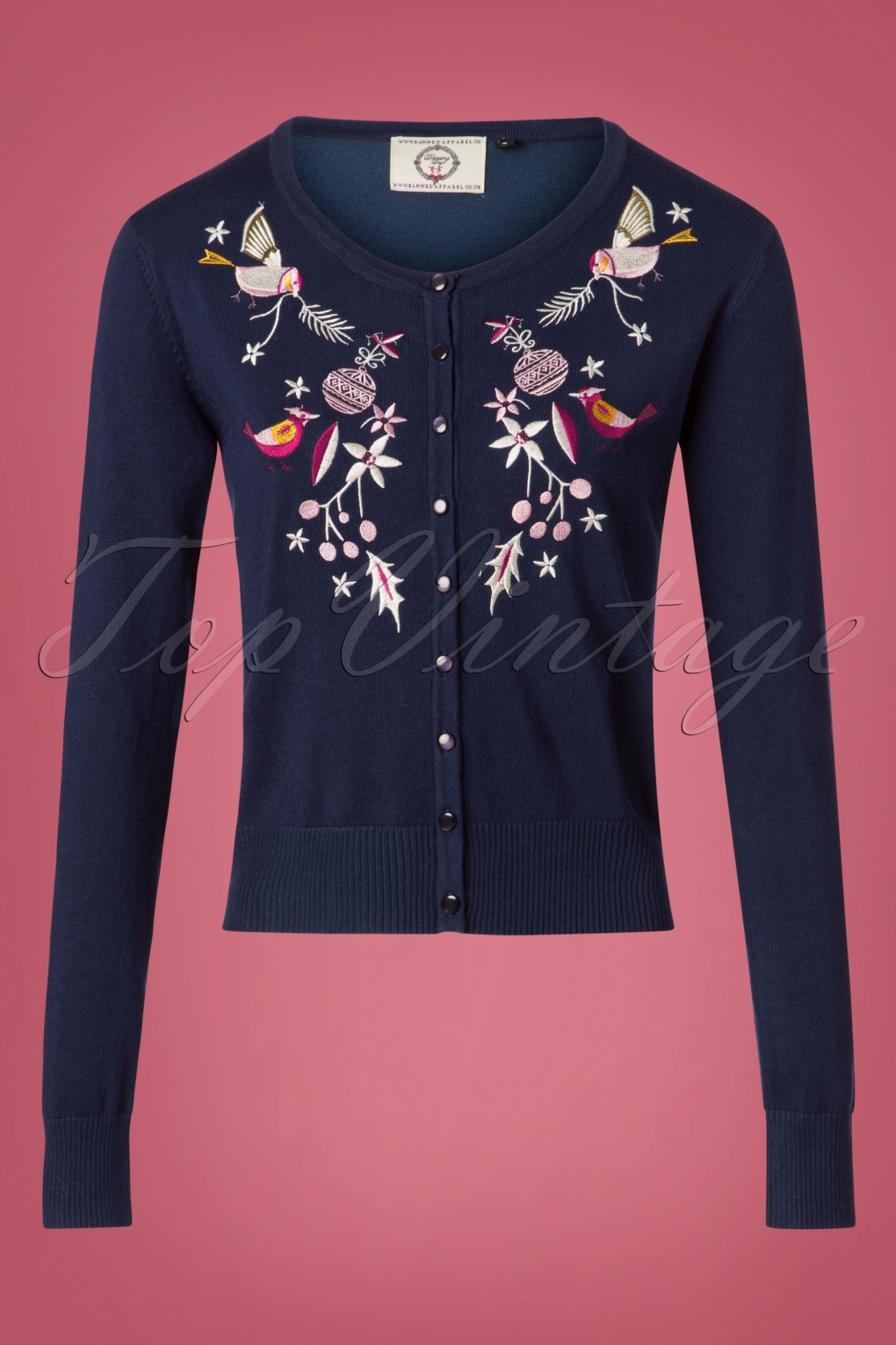 Vintage Christmas Dress | Party Dresses | Night Out Outfits 50s Christmas Bird Cardigan in Navy £36.73 AT vintagedancer.com