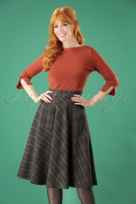 40s Claire Check Swing Skirt in Grey