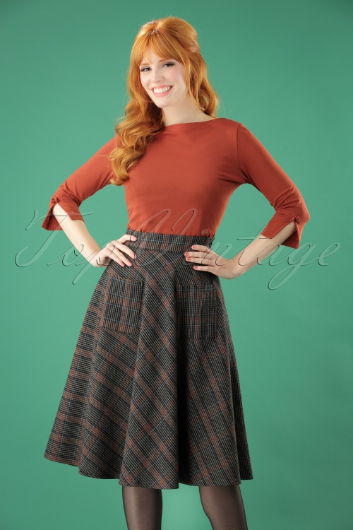 Banned Claire Check Skirt in Brown 26210 20180718 1W