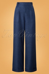 Banned Secretary Wide Leg Trousers in Steal Blue 26135 20180718 0002W