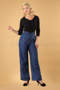 Banned Secretary Wide Leg Trousers in Steal Blue 26135 20180718 01W
