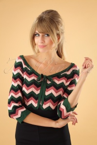 Banned Retro 60s Zooey Zig Zag Bow Top in Green and Pink