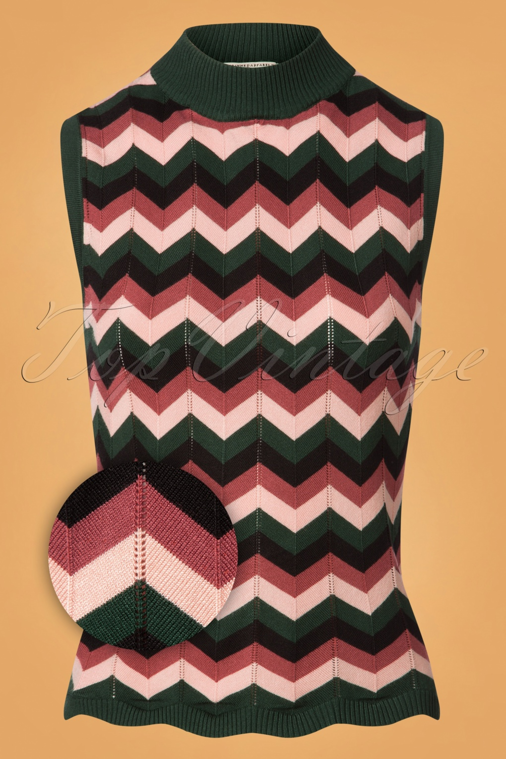 60s Shirts, T-shirt, Blouses | 70s Shirts, Tops, Vests 60s Zadia Zig Zag Top in Green and Pink £32.40 AT vintagedancer.com