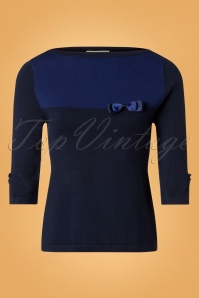 50s Colour Block Top in Blue