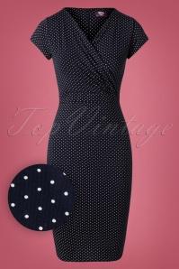 50s The Frieda Pindot Pencil Dress in Navy