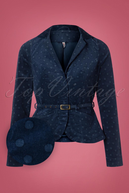 1950s Jackets, Coats, Bolero | Swing, Pin Up, Rockabilly 60s Dots Of Vienna Blazy Blazer in Blue £105.85 AT vintagedancer.com