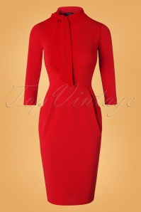Brianna Tie Neck Pencil Dress Années 50 en Rouge Vif