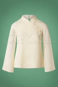 70s Bell Sleeve Top in Off White