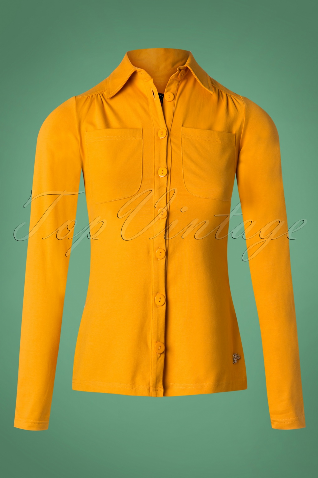 60s Shirts, T-shirt, Blouses | 70s Shirts, Tops, Vests 60s Betsy Blouse in Gold Yellow £46.85 AT vintagedancer.com