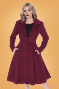 Hearts and Roses Winter Coat in Wine Red 152 20 26963 1