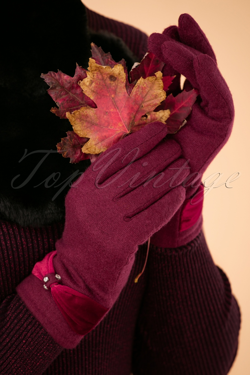 Vintage Style Gloves- Long, Wrist, Evening, Day, Leather, Lace 50s Sasha Wool Gloves in Wine £21.73 AT vintagedancer.com