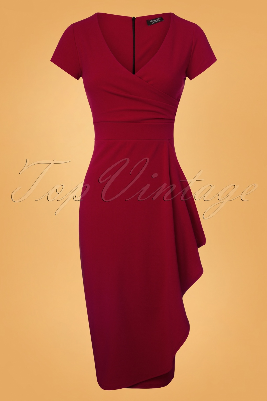 1950s Prom Dresses & Party Dresses 50s Crystal Pencil Dress in Wine Red £48.08 AT vintagedancer.com