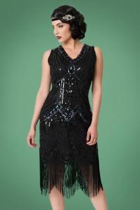 Unique Vintage 20s Veronique Fringe Flapper Dress in Metallic Black