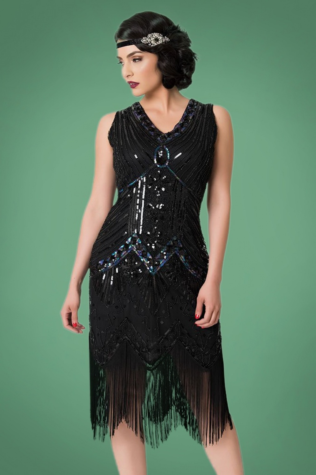1920s Evening Dresses & Formal Gowns 20s Veronique Fringe Flapper Dress in Metallic Black £109.41 AT vintagedancer.com