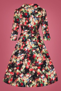 Hearts and Roses Black Multi Floral Swing Dress 102 14 26959 2W