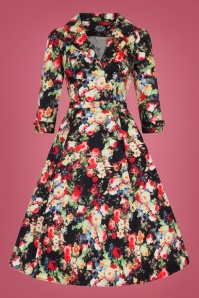 Hearts and Roses Black Multi Floral Swing Dress 102 14 26959 1W