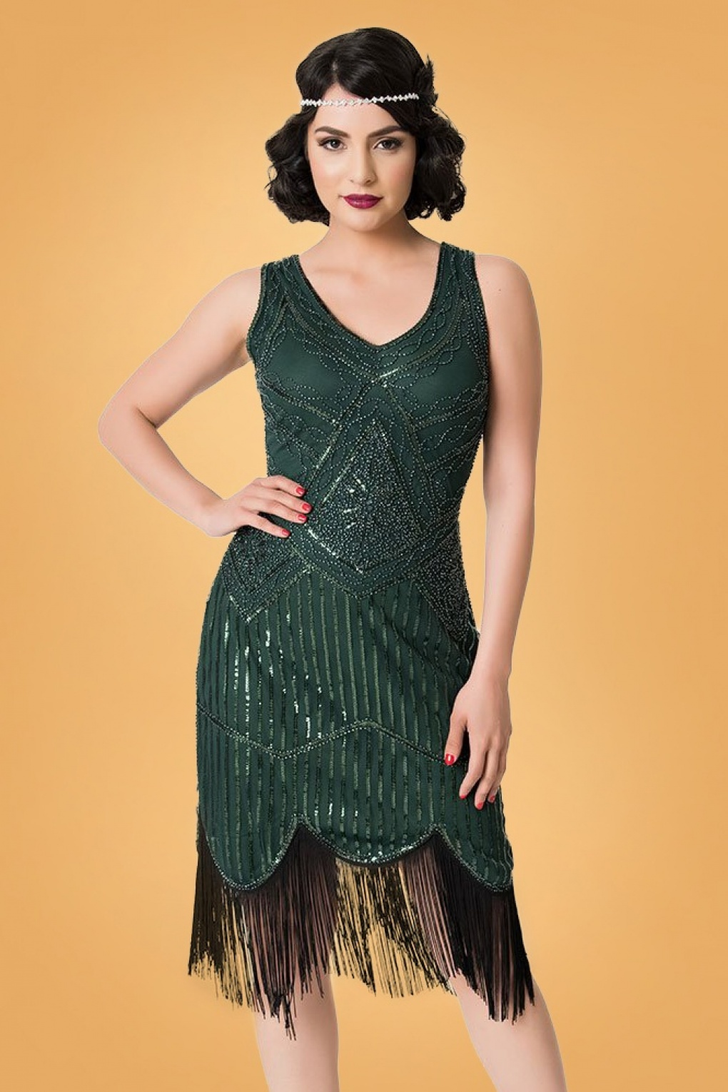 1920s Evening Dresses & Formal Gowns 20s Leonie Fringe Flapper Dress in Emerald Green £109.41 AT vintagedancer.com