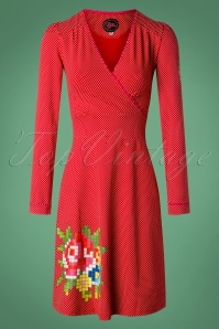 Tante Betsy Red Pixel Rose Dress 106 27 25429 20181005 0093W