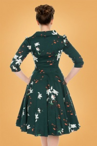 Hearts and Roses Green Floral Swing Dress 2
